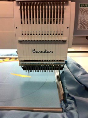 Embroidery machine stitching custom banner