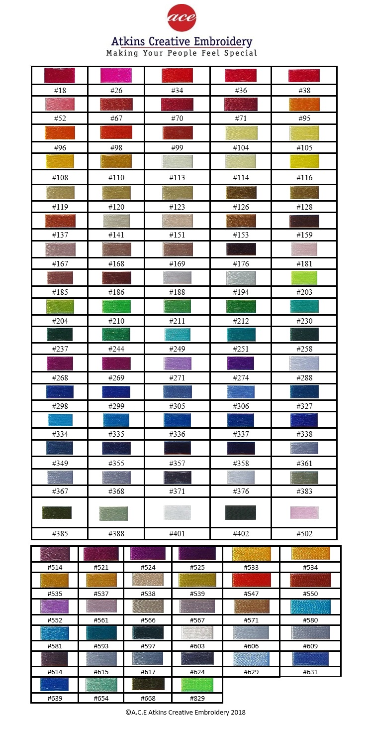 Embroidery Cotton Colours Chart Ace Embroidery Brisbane